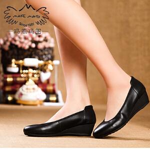 【下单立减10元,满299-50】玛菲玛图春款真皮坡跟浅口圆头舒适单鞋女黑色职业工作鞋单鞋女0263-16
