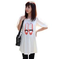 慈颜 韩版t�� 夏装泡泡袖舞鞋印花孕妇t恤 短袖上衣长款FF463