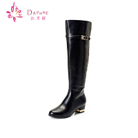Daphne/达芙妮女鞋 冬季弹力靴过膝长靴 英伦时尚骑士靴