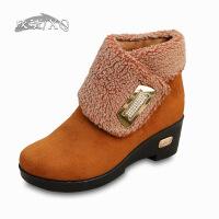 欣清冬季新品老北京布鞋女雪地靴加厚保暖毛毛靴子