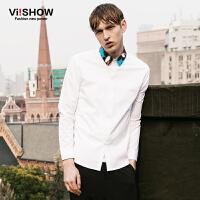 viishow春装新款长袖衬衫 欧美时尚白衬衫男 彩色领纯色衬衣
