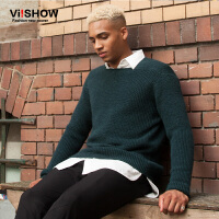 viishow潮牌秋装新款男士针织衫纯色圆领套头毛衣男青年线衣