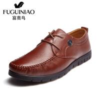 富贵鸟 新品 时尚头层牛皮 商务休闲系带皮鞋男鞋子