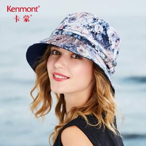 卡蒙太阳帽女夏天韩版潮遮阳帽青年时尚可折叠盆帽印花图案渔夫帽3456