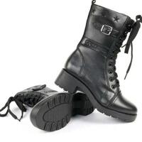 户外运动3515羊毛T27军靴女靴女鞋中筒靴骑士靴女式防寒皮靴军迷军靴