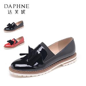 Daphne/达芙妮 时尚漆皮低跟中口女单鞋套脚乐福鞋10 404071