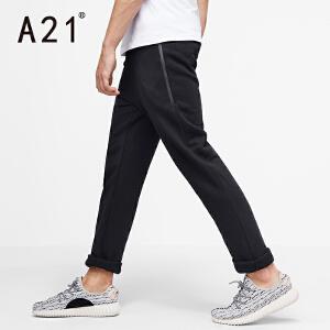 以纯A21秋装弹力加绒黑色裤子男简约休闲裤男士舒适运动小脚裤男潮
