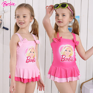 芭比可爱宝宝游泳衣儿童公主泳装温泉泳衣女童可爱连体裙式泳衣