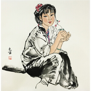 附画册 刘文西《小美女》著名画家