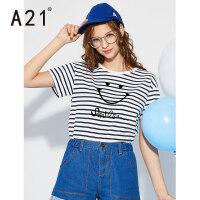 以纯线上品牌a21 2017新款纯棉圆领短袖T恤女条纹短款甜美时尚休闲上衣潮