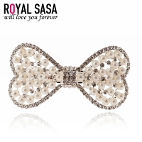 皇家莎莎Royalsasa韩版头饰时尚款合金人造水晶发夹发饰 珠钻蝴蝶结
