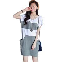 慈颜 孕妇装夏装 韩版大码孕妇裙 条纹假二件宽松连衣裙FF161