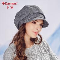 冬季帽子女羊毛呢贝雷帽秋冬韩版潮保暖鸭舌帽时尚立体褶皱八角帽2479