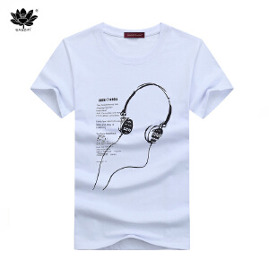 EASZin逸纯印品 短袖t恤男 2017夏季新款韩版卡通长线耳机印花男士大码加肥直筒版