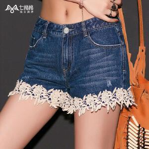 【9.21超级品牌日】七格格夏款 拼接蕾丝小花短款水洗个性甜美牛仔裤女