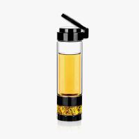 当当优品 双层耐热玻璃茶水分离玻璃杯 旅行泡茶杯 560ML