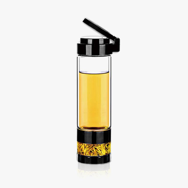 当当优品 双层耐热玻璃茶水分离玻璃杯 旅行泡茶杯 560ML当当自营 高硼硅玻璃 茶水分离 耐热防烫 隐形提手 560ML