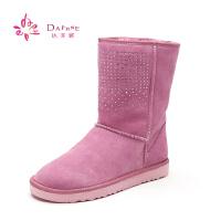 Daphne/达芙妮休闲舒适牛皮平底水钻装饰简约雪地靴1014608504