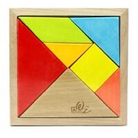 儿童益智彩色榉木盒装七巧板智力拼图木制玩具