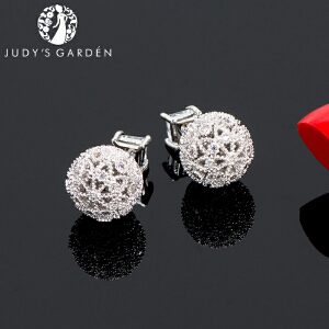 【茱蒂的花园】S925银针镂空满钻女士款前后式两戴耳饰耳钉耳插耳圈耳环耳线耳坠时尚防敏处理送女友礼物