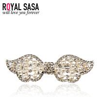 皇家莎莎Royalsasa韩版头饰时尚流行纯美百搭款合金人造水晶贝珠发夹发饰 珠钻炫彩