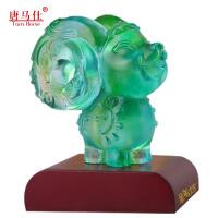 羊年生肖琉璃羊吉祥物  羊年办公用品 摆件 中国特色礼品送老外 圣诞元旦 *