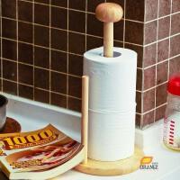 欧润哲 创意时尚实木厨房纸巾架 橡胶木卷筒纸架 卫生间纸筒架子