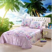 晚歌冰丝席凉席三件套 床单式可水洗可折叠印花冰丝床席子套装250*250cm适用于1.5m-1.8m床