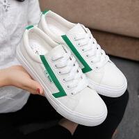 匡王2017夏季新款韩版女鞋白色帆布鞋女系带平底板鞋小白鞋学生休闲鞋