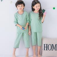 儿童睡衣夏男女童家居服套装纯棉薄款中大童空调服七分袖夏季男孩
