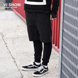 VIISHOW秋装新款男士休闲裤假两件运动长裤纯色抽绳潮裤子男 KC43663