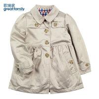 乐友孕婴童歌瑞家儿童上衣春季童装女童梭织风衣外套卡其色