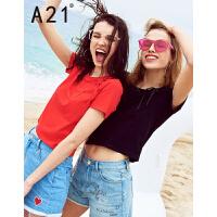 以纯线上品牌a21 2017夏装新款短袖t恤女 绑带个性纯色直筒上衣