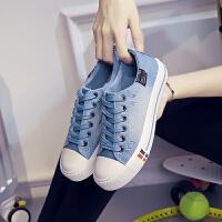 2016新款韩版帆布鞋女平底学生休闲鞋水洗牛仔女式板鞋低帮系带布鞋    672