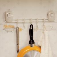【可货到付款】欧润哲 创意双按压式强力吸盘五连挂钩 厨房餐具浴室毛巾收纳挂架