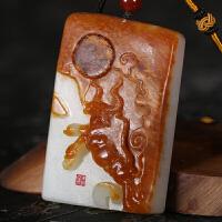 侯晓峰玉雕 新疆和田玉白玉籽料扭转乾坤把件生肖牛气冲天手玩件