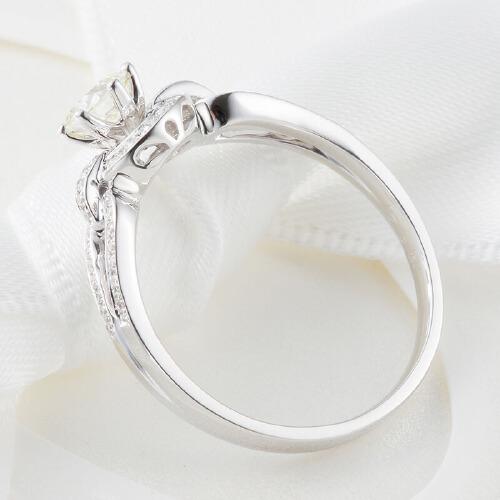 先恩尼钻戒 白18k金钻石戒指 女戒 结婚订婚戒指 牵手