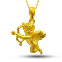 先恩尼黄金 3D硬金 足金吊坠 XQZ003128  天使丘比特黄金吊坠 黄金项链 货到付款连衣裙