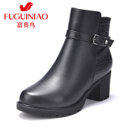 富贵鸟女靴时尚头层牛皮圆头粗跟马丁靴女鞋便捷拉链皮带扣短靴