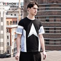 viishow夏装新款短袖T恤 欧美宽松拼色短袖男 几何图案印花T