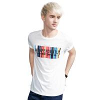 以纯A21男装修身圆领条纹短袖t恤 2017男士街头时尚潮男半袖男土体恤