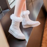 彼艾2016秋冬超甜美舒适雪地靴真兔毛中筒靴圆头厚底平跟保暖女靴平跟棉靴子