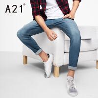以纯A21男士牛仔裤男小脚 修身长裤青年弹力休闲潮流浅色裤子春季新款