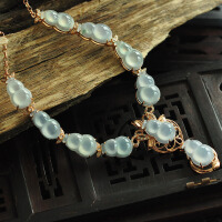 收藏珍品老坑冰种A货起光葫芦项链--18K金镶钻