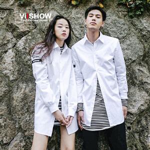【情侣款】VIISHOW秋季新款长袖衬衫男字母印花衬衣白色上衣情侣衣服潮