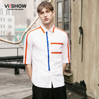 viishow夏装新款短袖衬衫 欧美时尚五分袖衬衫男 拼色白衬衣
