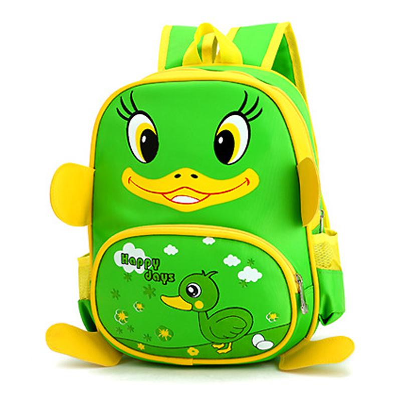 自然鱼幼儿园书包3-6岁儿童男女双肩背包可爱小鸭子大班中班小班_绿色