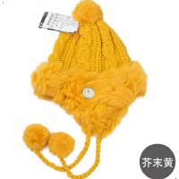 时尚秋冬女士帽子护耳帽针织帽皮草毛线帽兔毛帽