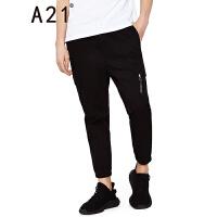 以纯线上品牌A21 2017夏装新款低腰纯棉黑色休闲裤男潮流小脚九分裤