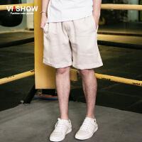 viishow夏装新款短裤 欧美时尚简约纯色短裤男 休闲五分短裤